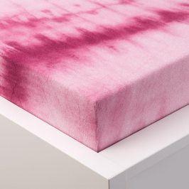 Hermann Cotton batikované napínací prostěradlo froté růžové 90 - 100 x 200 cm