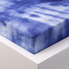 Hermann Cotton batikované napínací prostěradlo froté modré 90 - 100 x 200 cm