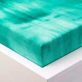 Hermann Cotton batikované napínací prostěradlo froté zelené 90 - 100 x 200 cm