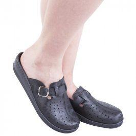 Dámské pantofle s plnou špičkou a přezkou černé vel. 37