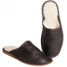 Ovčí věci Pánské kožené pantofle s ovčí vlnou hnědé vel. 44