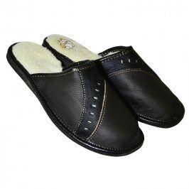 Pánská domácí obuv kožená černá vel. 42