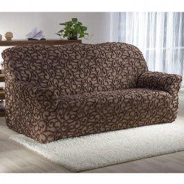 Nueva Textura decoDoma napínací potahy na sedací soupravu strečový 3D DICKSON hnědé na sedačku - trojkřeslo 180 - 220 cm