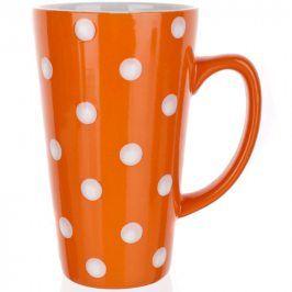 BANQUET Keramický hrnek vysoký 450 ml oranžový s puntíky