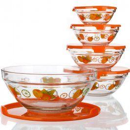 BANQUET 5ti dílná sada misek s plastovými víčky Naranjas pr. 9 x v. 4 cm, pr. 10 x v. 4,5 cm, pr. 12,5 x v. 5,5 cm, pr. 14 x v. 6 cm, pr. 17 x v. 7,7 cm   BANQUET Kompletní sortiment do Vaší kuchyněPod značkou domácích potřeb BANQUET najdete kompletní sortiment pro přípravu jídel a nápojů, stolování, skladování surovin i hotových jídel. Za více než 5 let působení na českém trhu si značka získala řadu spokojených zákazníků.