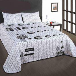 Přehoz na postel s polštářky Good Night šedobílý