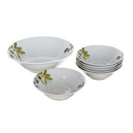 BANQUET 7D sada misek OLIVES OK 60A1140697D Oblíbený dekor oliv Porcelánové misky OLIVES s dekorem oliv nabízíme v 7dílné sadě. Souprava obsahuje 6x malou misku a 1x velkou mísu. Misky jsou vhodné do myčky nádobí i mikrovlnné trouby. Parametry: Materiál: porcelán Rozměry malé misky: 15 x 5 cm Rozměry velké misky: 22,5 x 7 cm Vhodné do mikrovlnné trouby: ano Vhodné do myčky nádobí: ano