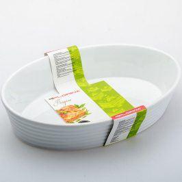 Florentyna Keramická zapékací miska oválná KRISPINO Vhodná do myčky Oválná zapékací keramická mísa je vhodná na pečení masa, zapékání zeleniny, brambor a těstovin. Mísa má tepelnou odolnost až 220 °C, je odolná vůči teplotním šokům. Zapékací mísu lze mýt v myčce na nádobí. Parametry: Materiál: keramika Rozměr: 31 x 21,5 x 6,5 cm