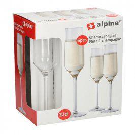 Alpina   Sklenice na šampaňské Alpina, objem 220 ml, 6 ks
