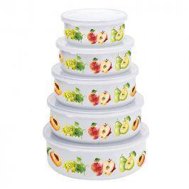 Florentyna Smaltované misky s víčky Jablka a hrušky 5 ks pr. 10 cm, pr. 12 cm, pr. 14 cm, pr. 16 cm a pr. 18 cm