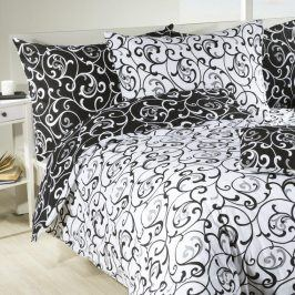 STANEX Bavlněné  povlečení Veronika černobílé 140 x 200 cm, 70 x 90 cm