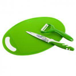 BANQUET Škrabka, nožík a plastové prkénko Lavender Green 3 ks
