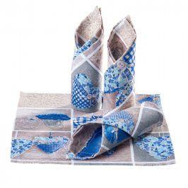 Prostírky patchwork Srdce modré 4 ks