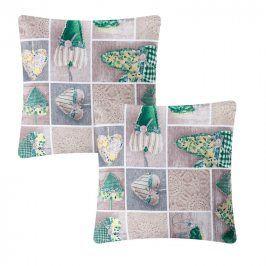 Povlak na polštářek patchwork Srdce zelené 2 ks
