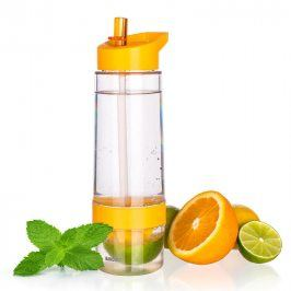 Banquet Sqeezy 650ml sportovní láhev s lisem na citrusy oranžová