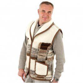 Pánská vesta se šálovým límcem z ovčí vlny Merino vel. M