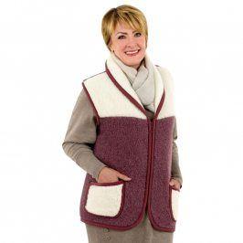 Dámská vesta se šálovým límcem z ovčí vlny MERINO vel. XL