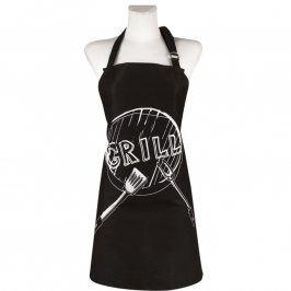 Bavlněná kuchyňská zástěra Grill černá