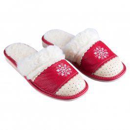 Domácí kožené boty s ovčím rounem červené vel. 41