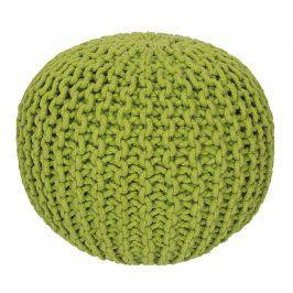Ručně pletený puf zelený
