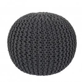 Ručně pletený puf antracitový