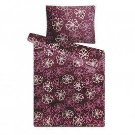 povlečení z mikroplyše fialové květiny 140 x 200 cm, 70 x 90 cm