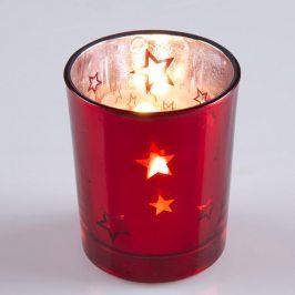 Svícínek skleněný s dekorem červený