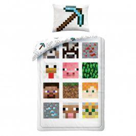 Dětské ložní povlečení Minecraft bílé 140 x 200 cm, 70 x 90 cm