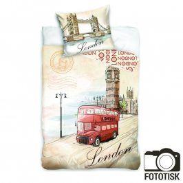 Bavlněné  povlečení London Red Bus 140 x 200 cm, 70 x 90 cm