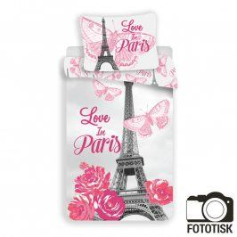 Bavlněné  povlečení Paris květiny 140 x 200 cm, 70 x 90 cm