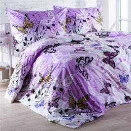 Hermann Cotton Bavlněné  povlečení Butterfly fialové 140 x 220 cm, 70 x 90 cm