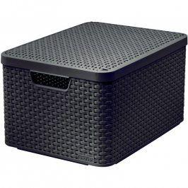 Curver Rattan Style box s víkem L tm. hnědý