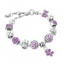 Náramek s kytičkami, fialový