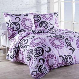 Krepové  povlečení Kruhy fialové 140 x 200 cm, 70 x 90 cm