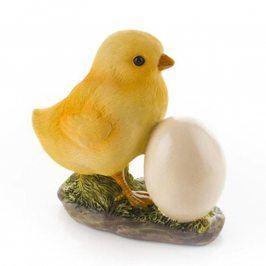 Kuřátko s vajíčkem polyresin 10,5x6x11,5 cm