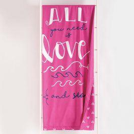 Plážová osuška Love 90x170 cm růžová