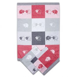 Kuchyňský set utěrek Ovečky červený 50x70 cm bavlna