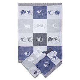 Kuchyňský set utěrek Ovečky modrá 50x70 cm 0% bavlna