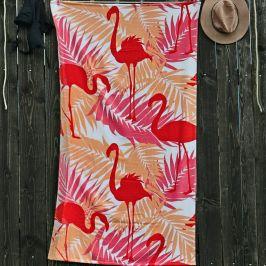 Plážová osuška Plaměňáci 90x170 cm růžová