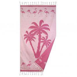 Plážová deka Palmier růžová 90x160 cm růžová