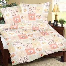 Krepové povlečení Love oranžové 140x200 jednolůžko - standard Krep