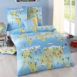 Dětské povlečení Kolem světa 140x200 jednolůžko - standard bavlna
