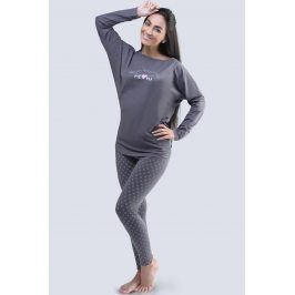 Dámské pyžamo s netopýřími rukávy Lady šedé  tmavěšedá
