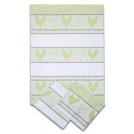 Sada kuchyňských utěrek Slepičky zelená 50x70 cm bavlna
