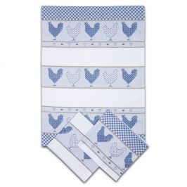 Sada kuchyňských utěrek Slepičky modrá 50x70 cm bavlna