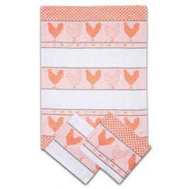 Sada kuchyňských utěrek Slepičky oranžové 50x70 cm bavlna