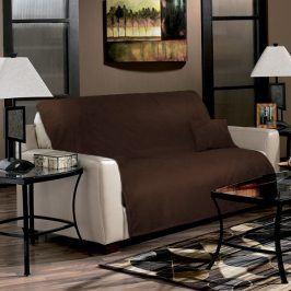 Přehoz na sedačku hnědý 170x210 cm polyester