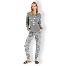 Dámské italské pyžamo Winter Grey  šedá