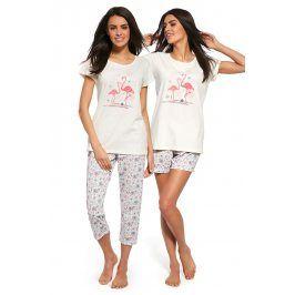 3dílný set dámského pyžama Flaming  ecru