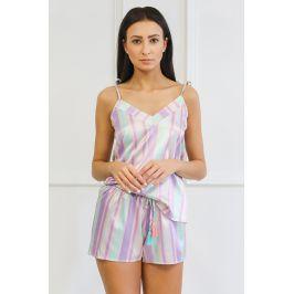 Saténové pyžamo Blanch  zelenofialová